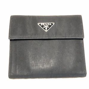 Prada Wallet Black Nylon Leather tri-fold button